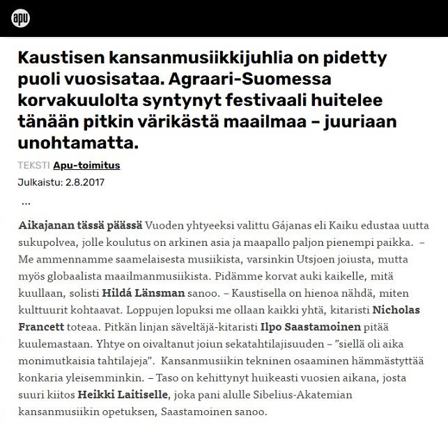 Apu (Finland), 2.8.2017