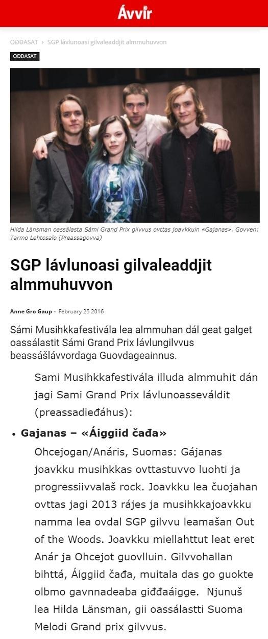 Avvir (Norway), 25.2.2016