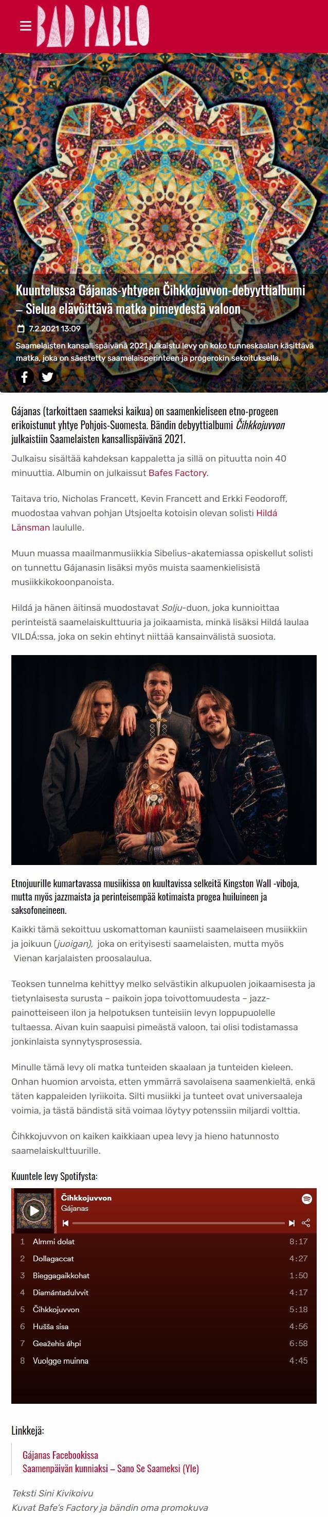 Bad Pablo (Finland), 7.2.2021