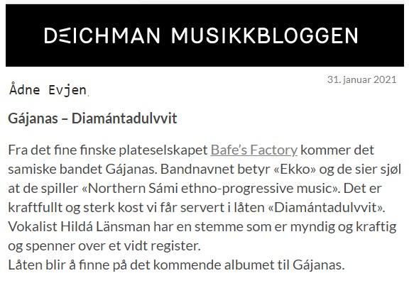 Deichman Musikkbloggen, (Norway), 31.1.2021
