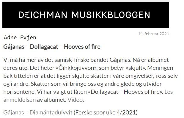 Deichman Musikkbloggen, (Norway), 14.2.2021