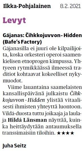 Ilkka-Pohjalainen, (Finland), 8.2.2021