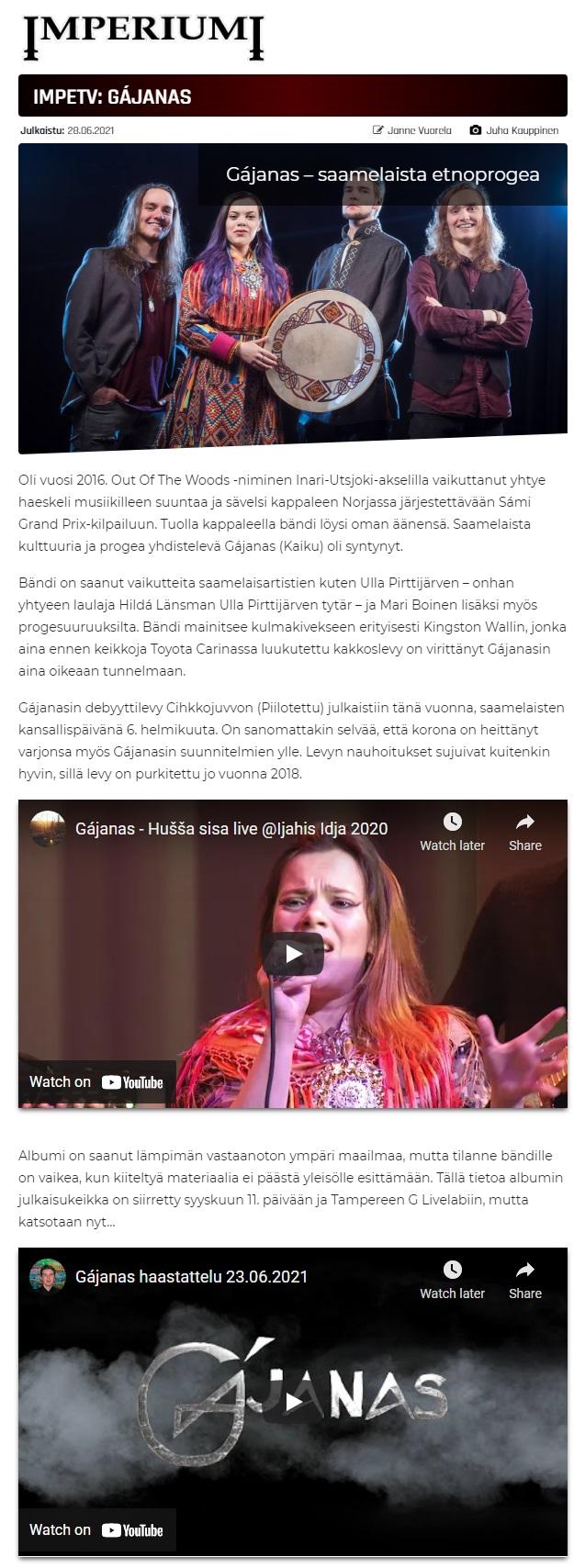 Imperiumi (Finland), 28.6.2021
