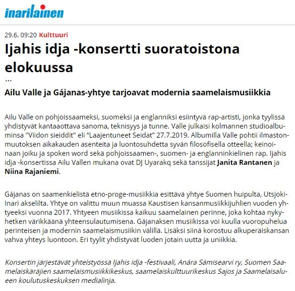 Inarilainen (Finland), 29.6.2020