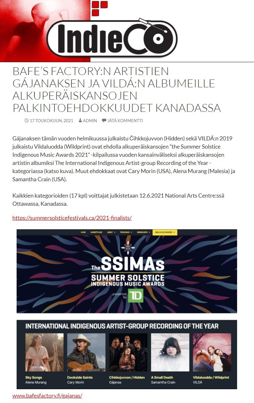 IndieCo (Finland), 17.5.2021