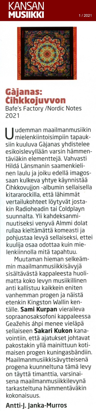 Kansanmusiikki (Finland), 1/2021