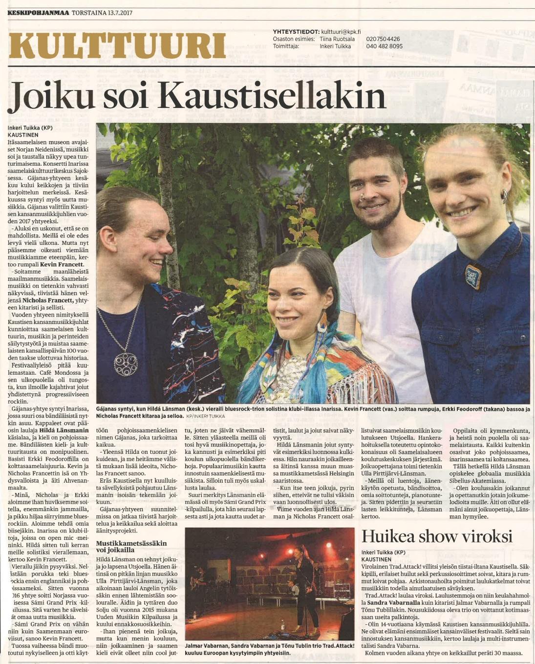 Keskipohjanmaa (Finland), 13.7.2017