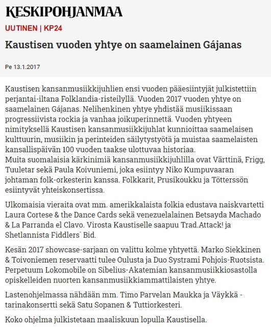 Keskipohjanmaa (Finland), 13.1.2017