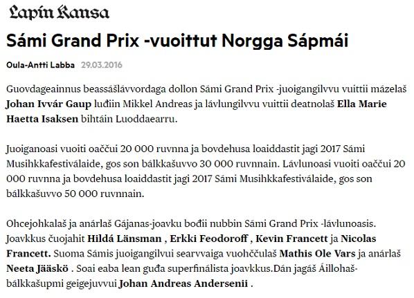 Lapin Kansa (Finland), 29.3.2016