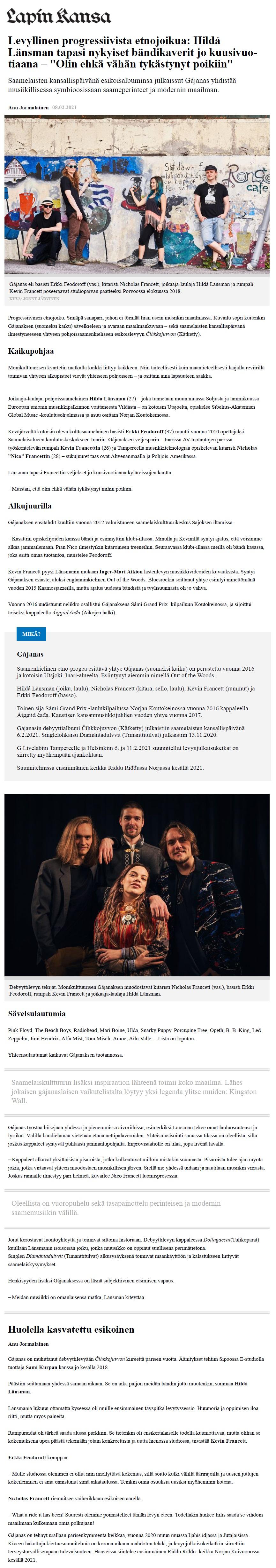 Lapin Kansa (Finland), 8.2.2021