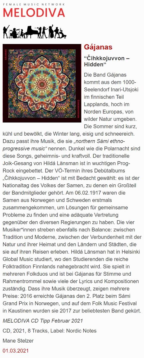 Melodiva (Germany), 1.3.2021