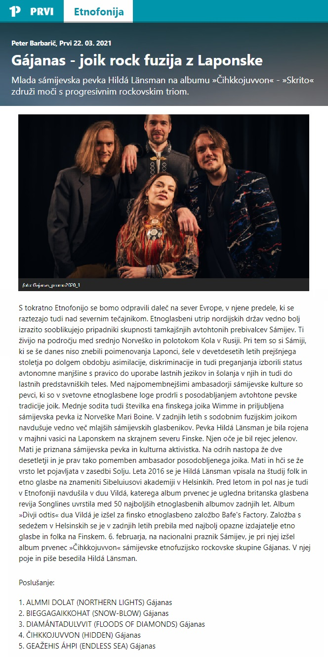 Radio PRVI, Etnofonija (Slovenia), 22.3.2021