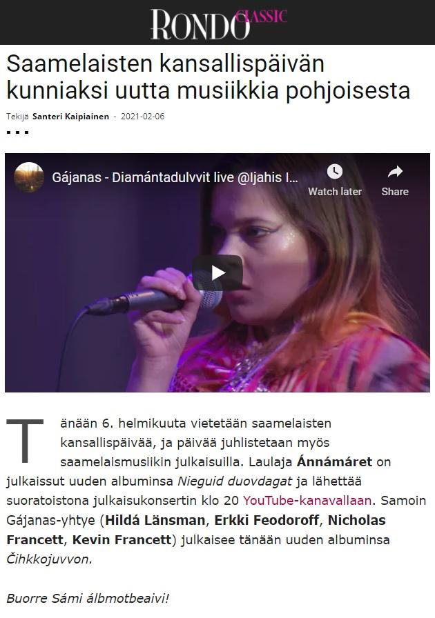 Rondo (Finland), 6.2.2021