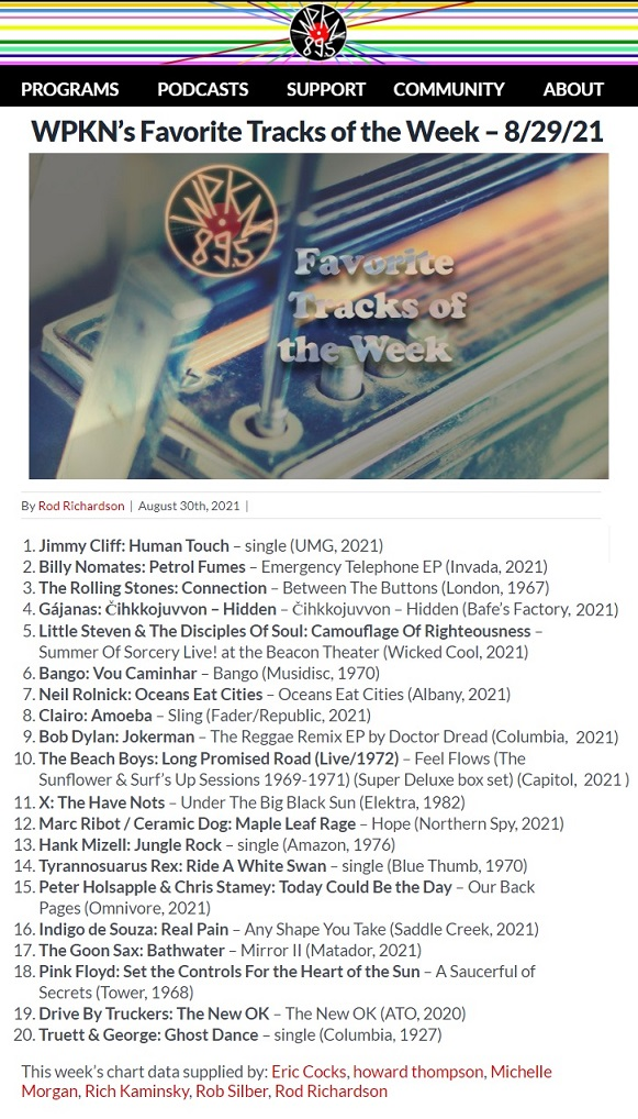 WPKN, Favorite Tracks of the Week 8/29/21 (USA), 30.8.2021