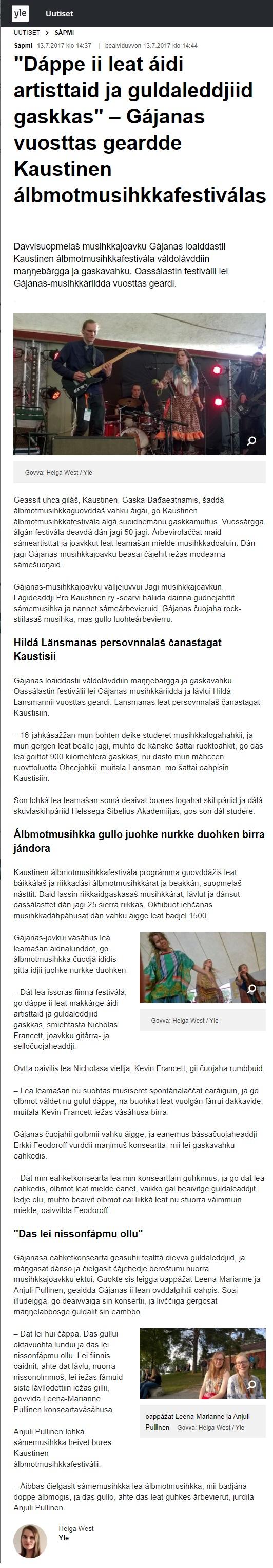 Yle Sápmi (Finland), 13.7.2017