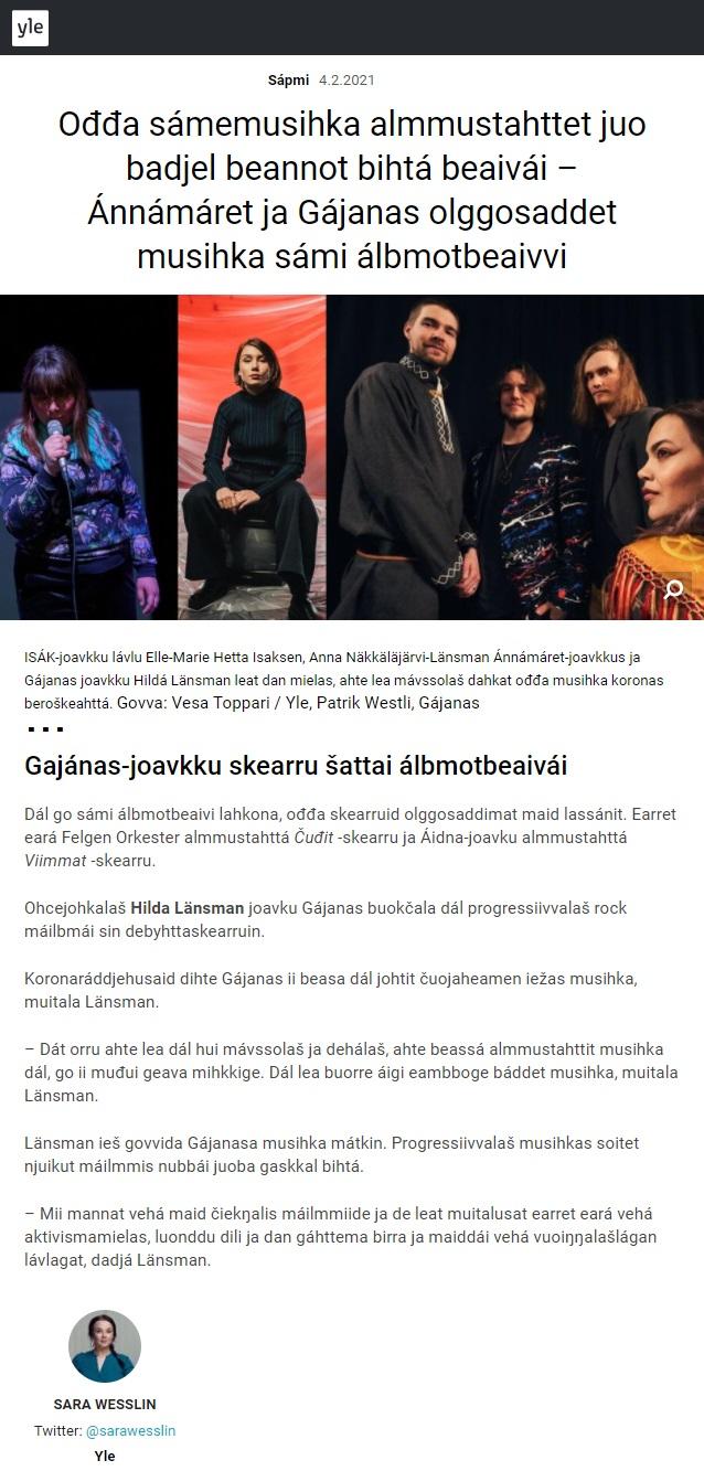 Yle Sápmi (Finland), 4.2.2021