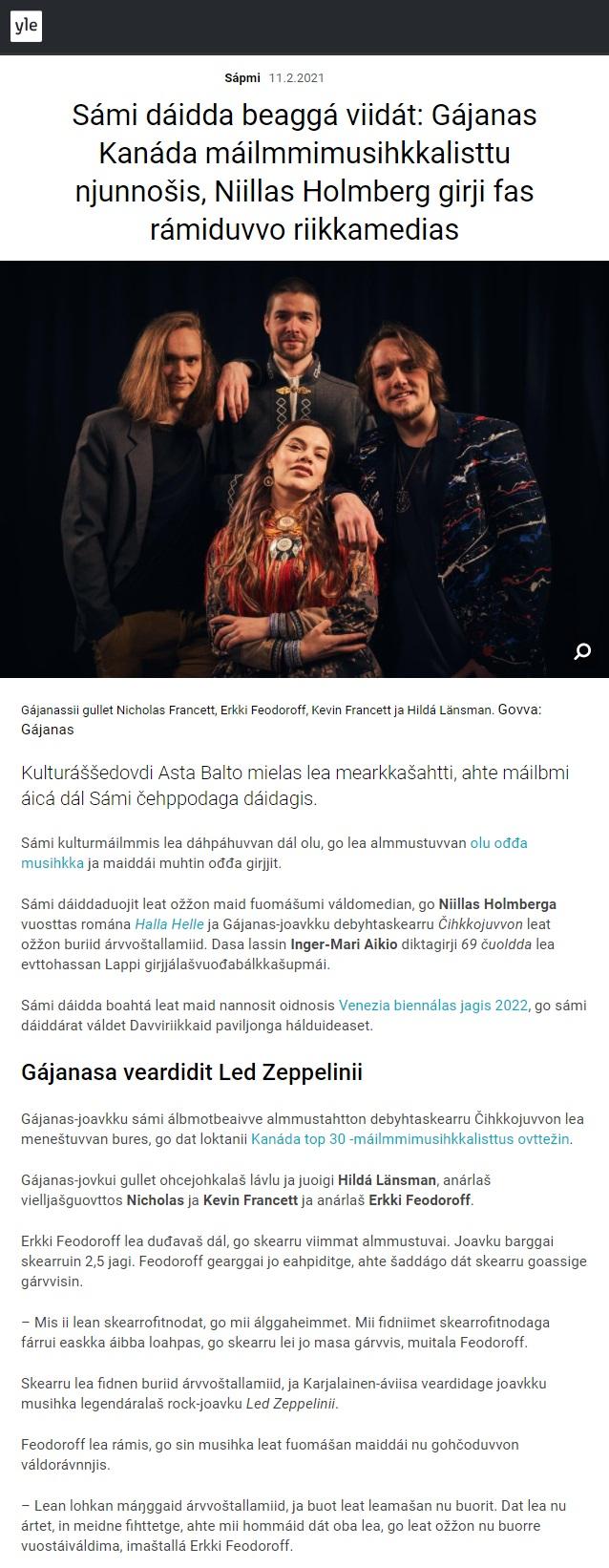 Yle Sápmi (Finland), 11.2.2021