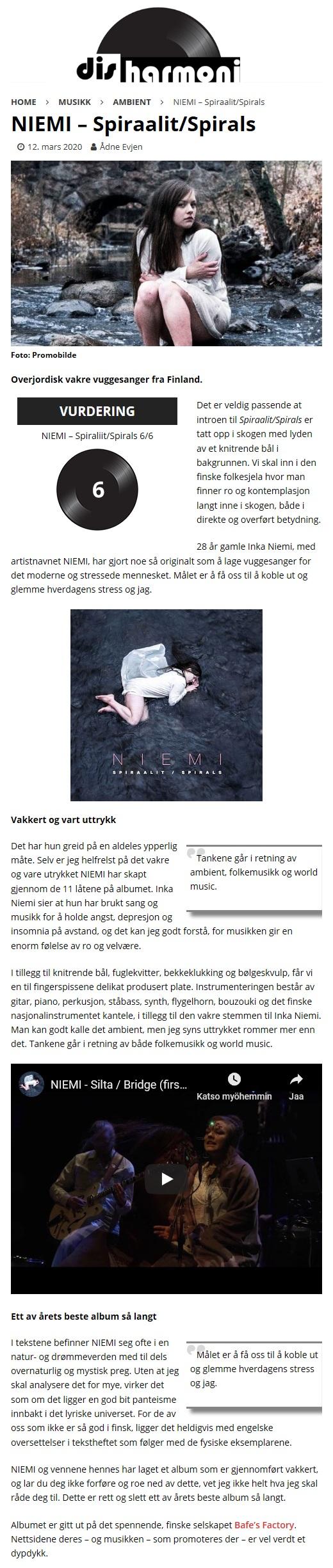 disharmoni, (Norway), 12.3.2020