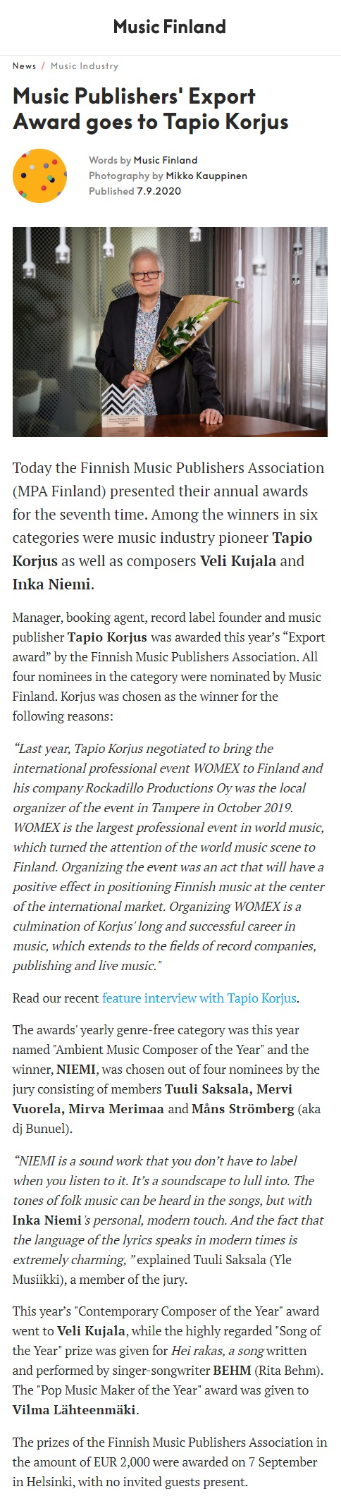 Music Finland (Finland), 7.9.2020