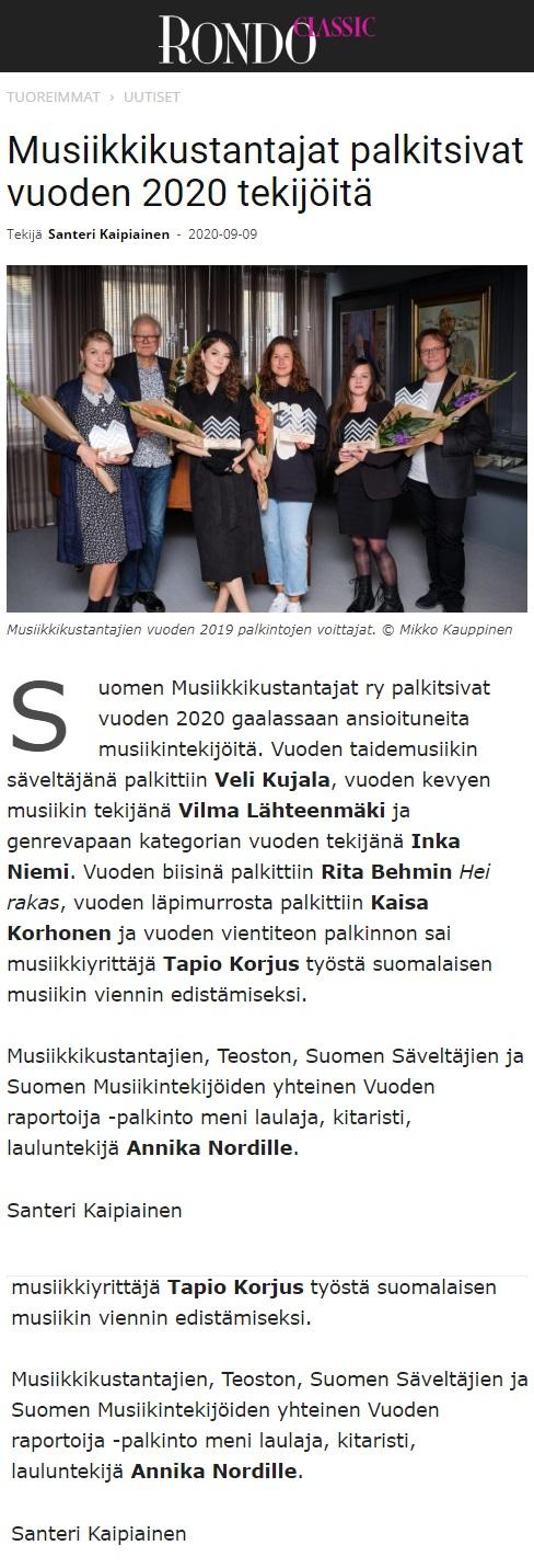 Rondo (Finland), 9.9.2020