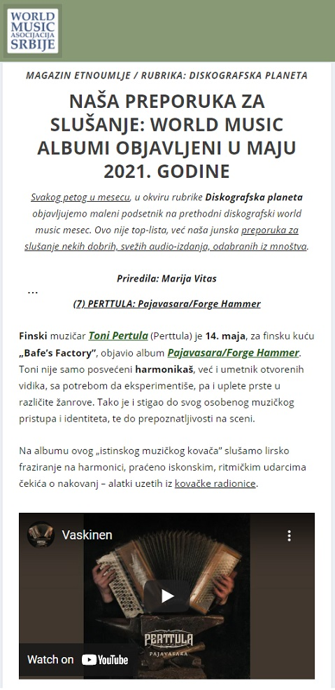 Magazin Etnoumlje, Diskografska Planeta (Serbia), 5.6.2021