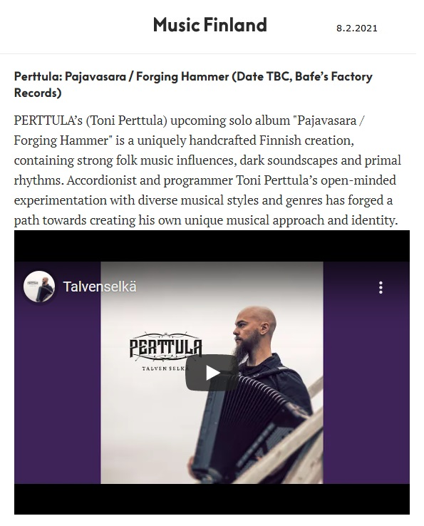 Music Finland (Finland), 8.2.2021