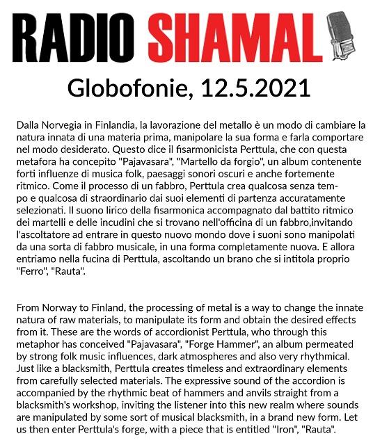 Radio Shamal, Globofonie (Italy), 12.5.2021