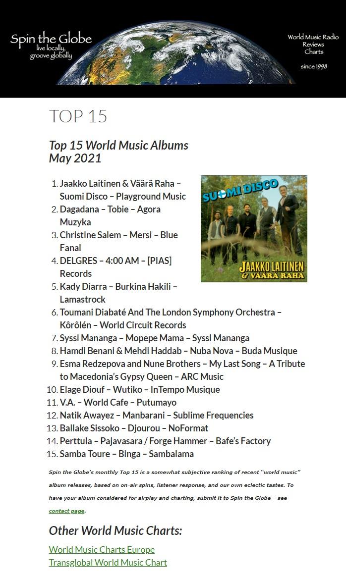 KAOS, Spin the Globe, Top 15 World Music Albums May 2021 (USA), May 2021