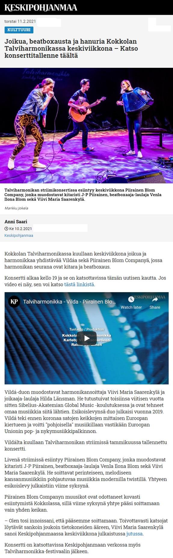 Keskipohjanmaa (Finland), 10.2.2021