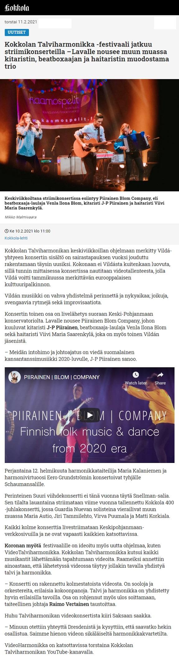 Kokkola-lehti (Finland), 10.2.2021
