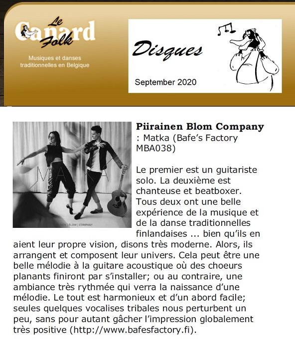 Le Canard Folk, (Belgium), Sep 2020