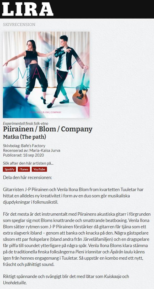Lira (Sweden), 18.9.2020