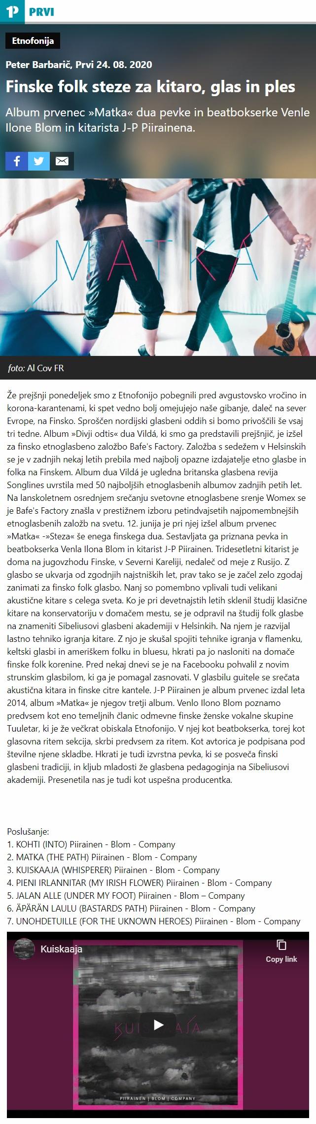 Radio PRVI, Etnofonija, Finske folk steze za kitaro, glas in ples (Slovenia), 24.8.2020