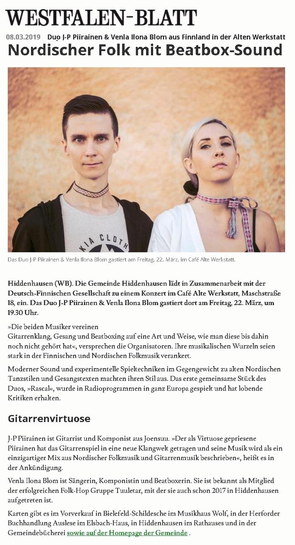Westfalen-Blatt (Germany), 8.3.2019