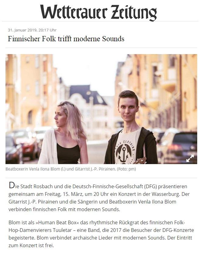 Wetterauer Zeitung (Germany), 31.1.2019