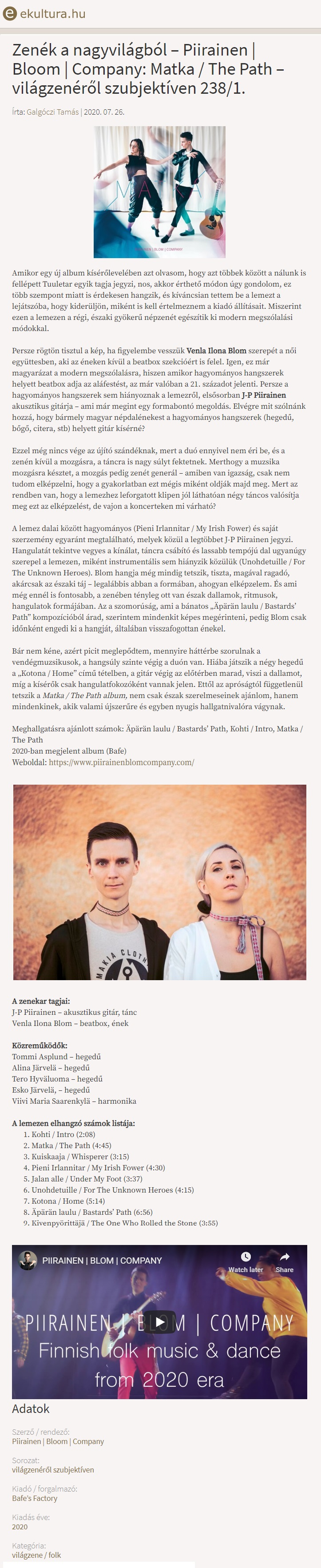 eKultura.hu (Hungary), 26.7.2020