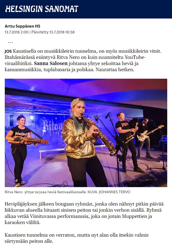 Helsingin Sanomat (Finland), 13.7.2018