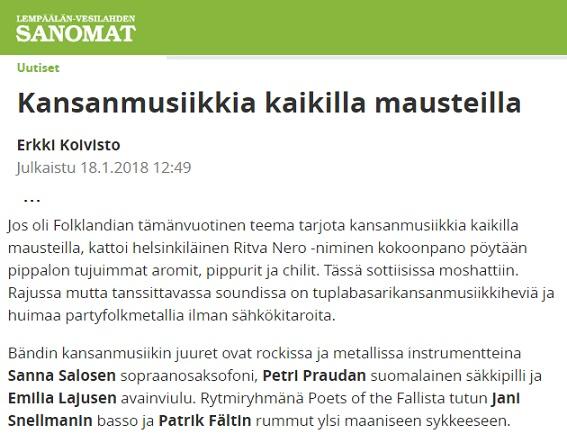 Lempäälän-Vesilahden Sanomat (Finland), 18.1.2018