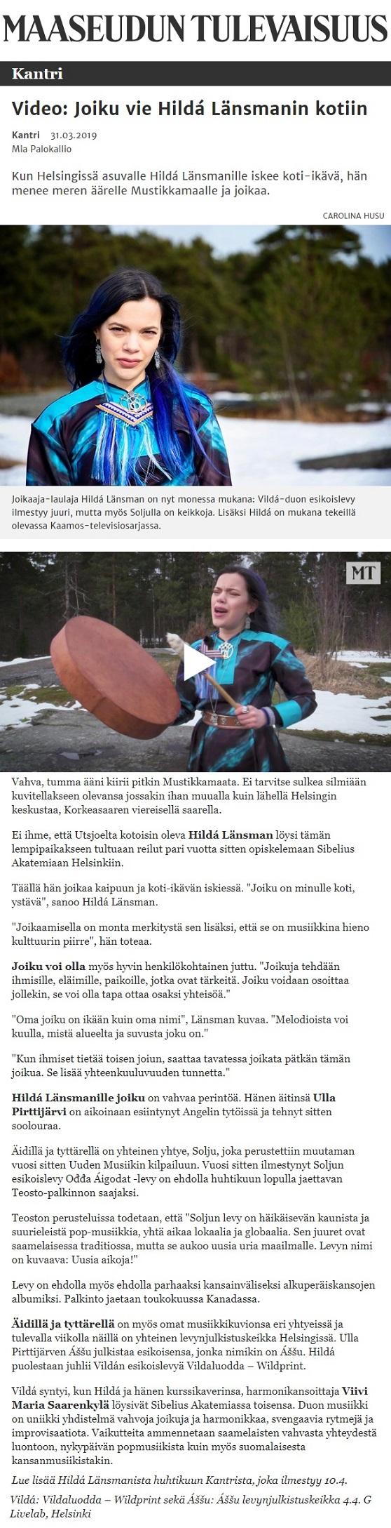 Maaseudun tulevaisuus, Kantri (Finland), 31.3.2019