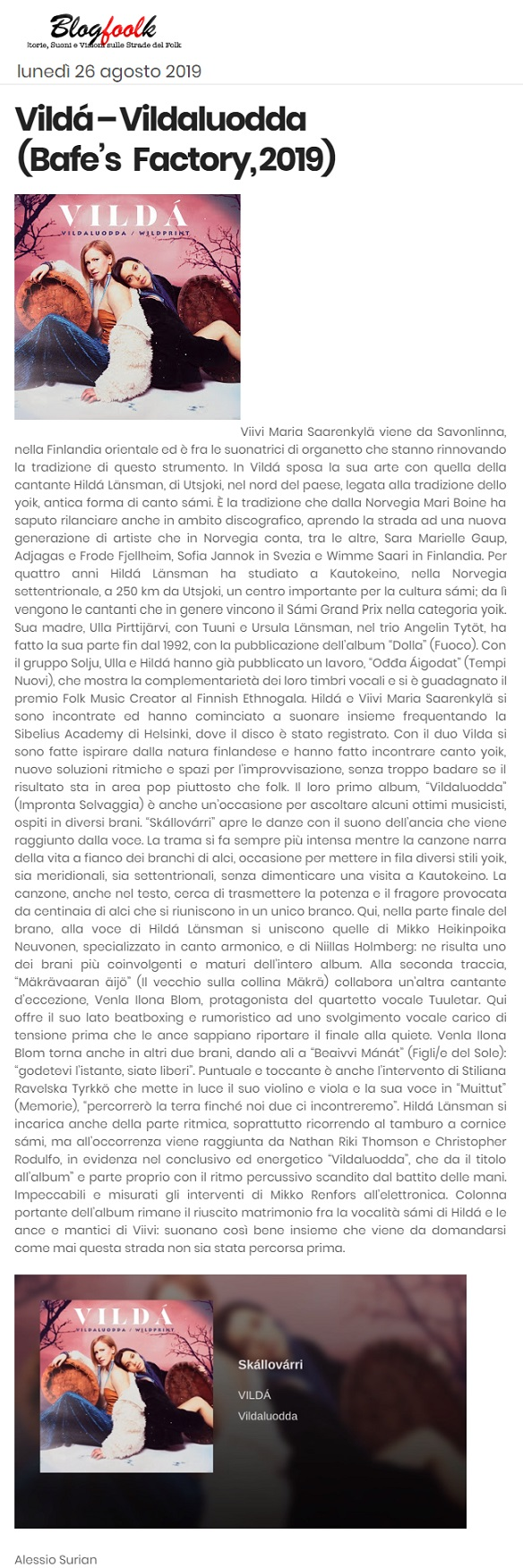 Blogfoolk (Italy), 26.8.2019