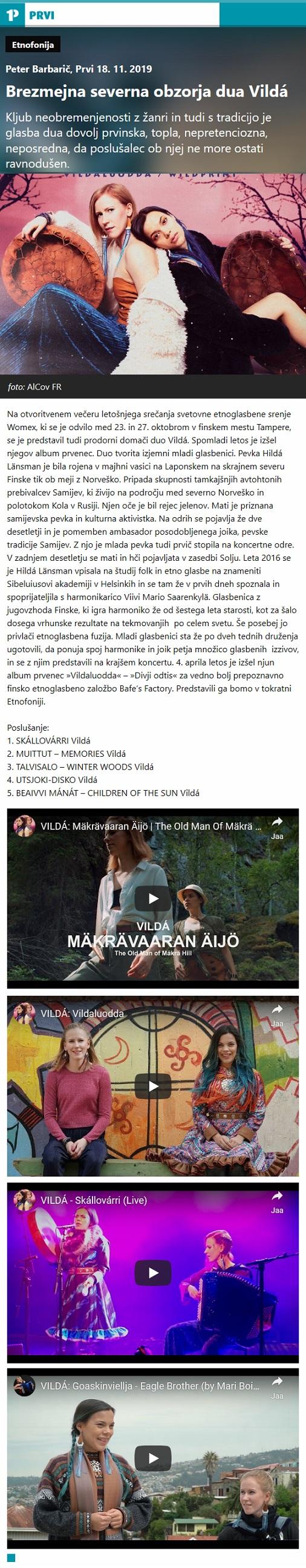 Radio PRVI, Etnofonija, Brezmejna severna obzorja dua Vildá (Slovenia), 18.11.2019