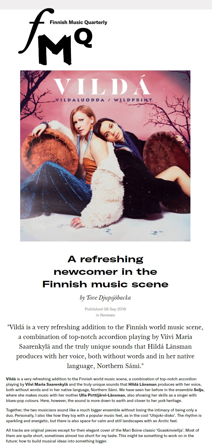 FMQ, Finnish Music Quartely (Finland), 6.9.2019