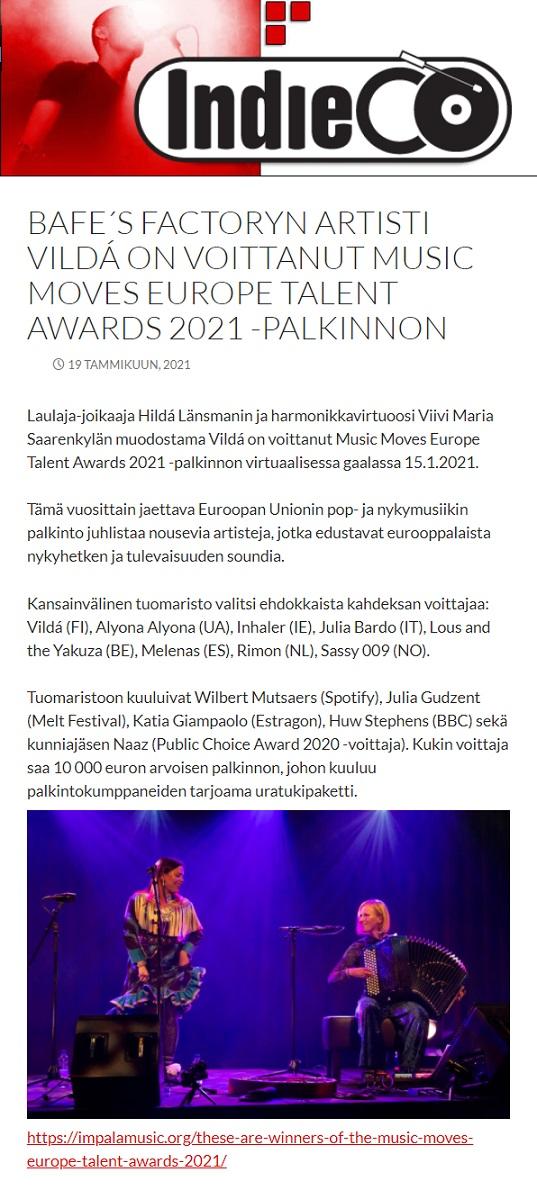 Indieco (Finland), 19.1.2021
