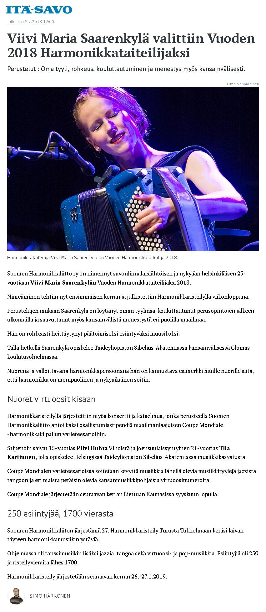Itä-Savo (Finland), 2.2.2018