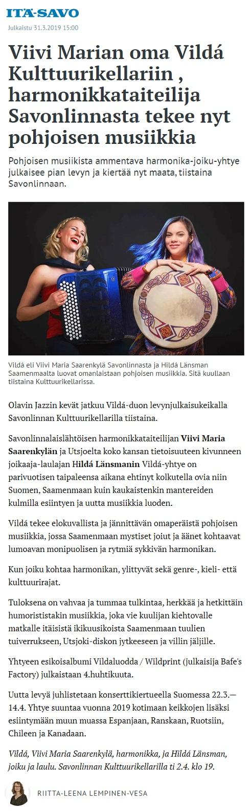 Itä-Savo (Finland), 31.3.2019
