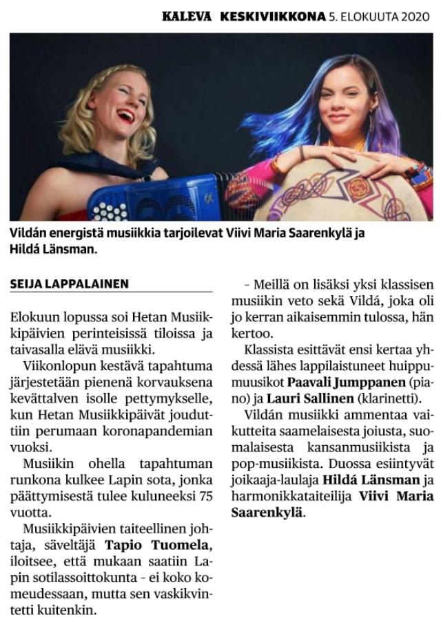 Kaleva (Finland), 5.8.2020