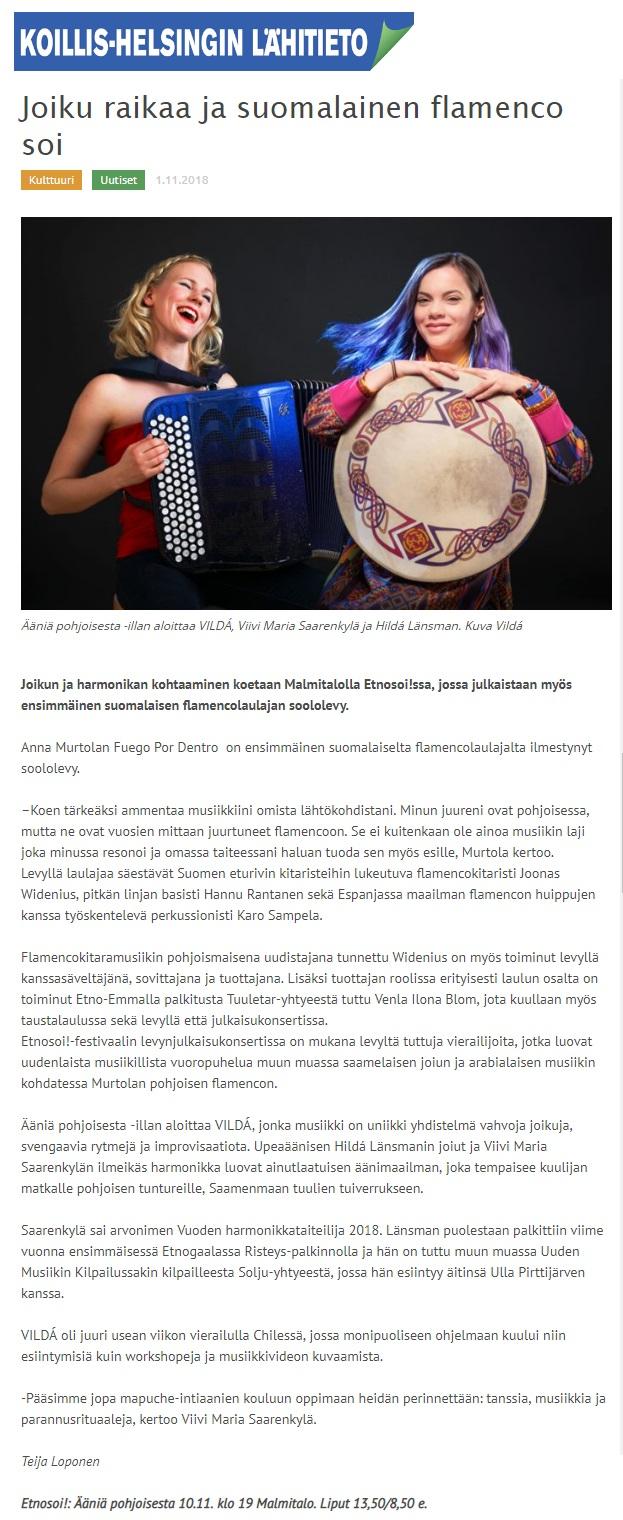 Koillis-Helsingin Lähitieto (Finland), 1.11.2018