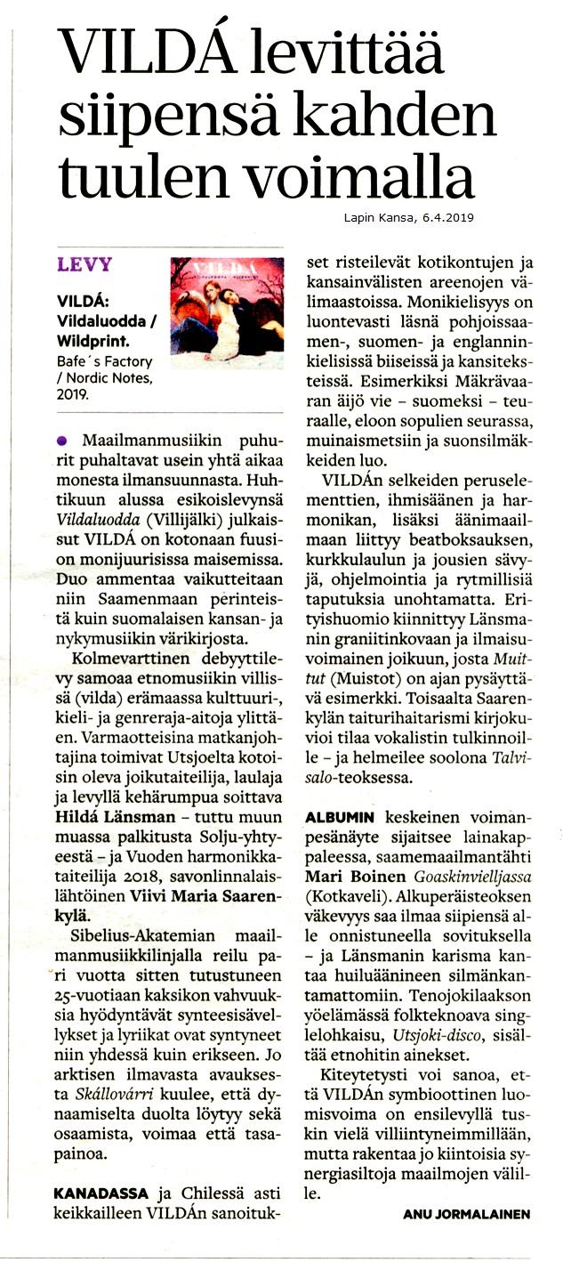 Lapin Kansa (Finland), 6.4.2019