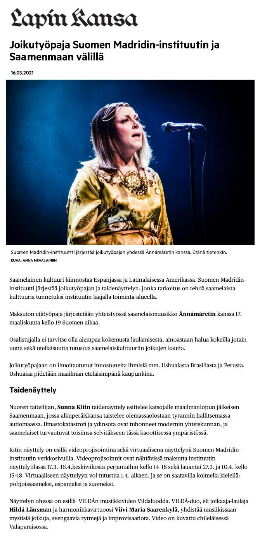 Lapin Kansa (Finland), 16.3.2021