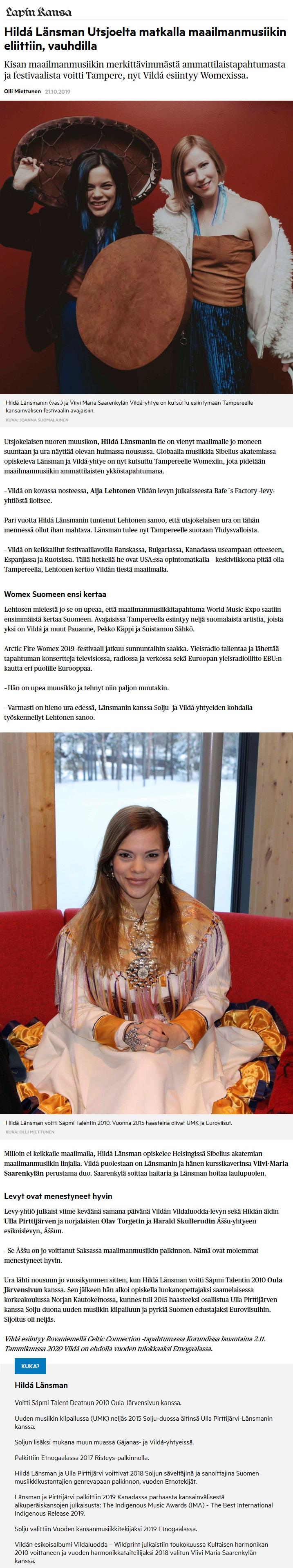 Lapin Kansa (Finland), 21.10.2019